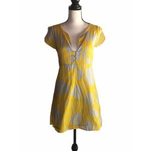 TULLE YELLOW GRAY FLORAL A LINE COTTON DRESS